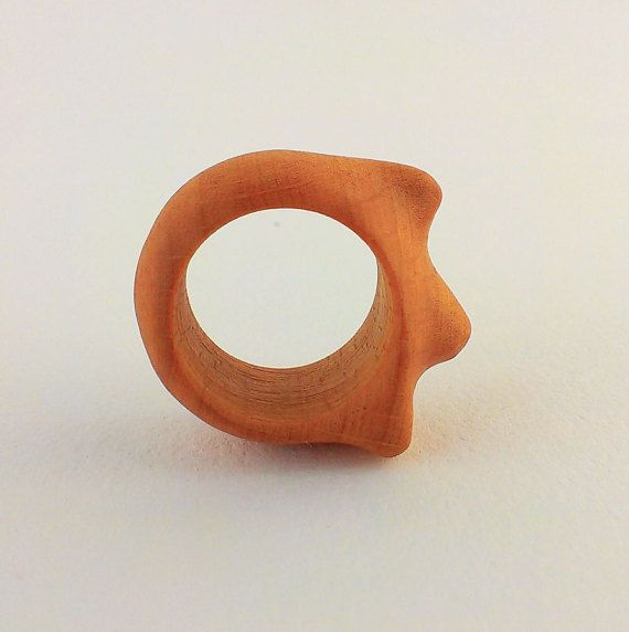 ARMFUL  Hand Carved Wood Ring  Wooden Ring  Natural by STandoneART
