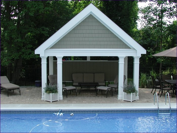 Another good idea for a pool house but a little more for Shed into pool house