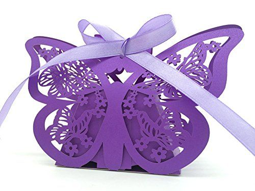 50 Pack Swirl Flower Butterfly Laser Cut Favor Candy Box Bomboniere with Ribbons Bridal Shower Wedding Party Favors/ Laser Cut Purple Butterfly Wedding Box Candy Box in Pearl Paper Box,baby Party Shower Box(with Ribbon) MYEAR http://smile.amazon.com/dp/B00X5MOERK/ref=cm_sw_r_pi_dp_ySYyvb1396767