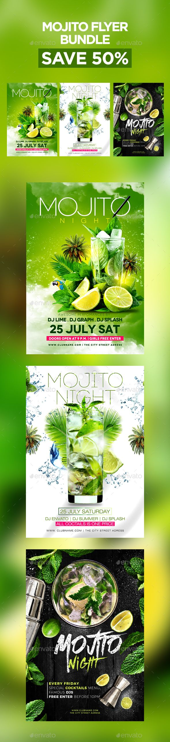 Mojito Flyer Template PSD Bundle