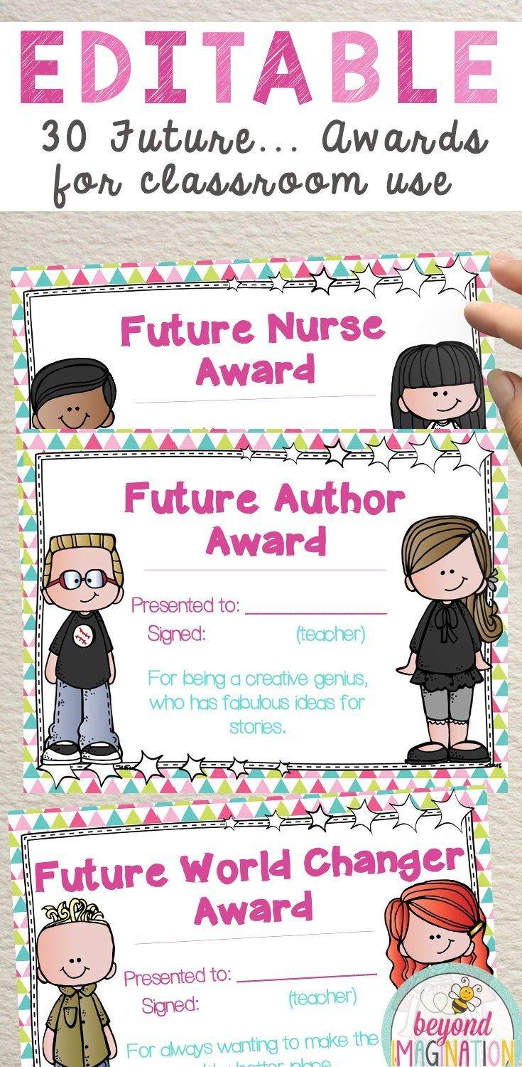 Editable awards for classroom teachers to use. Future focused end of year certificates for kids. Recognition for students. #tpt #awards #editable