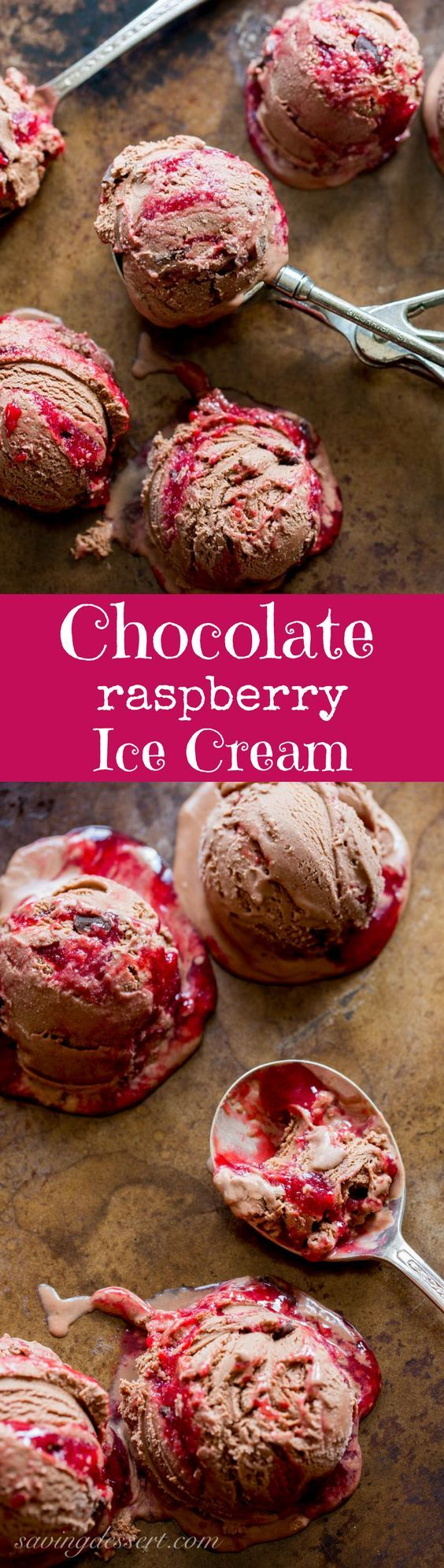 Chocolate Chocolate Chunk-Raspberry Swirl Ice Cream ~ a creamy, sweet, tart and delicious treat from www.savingdessert.com