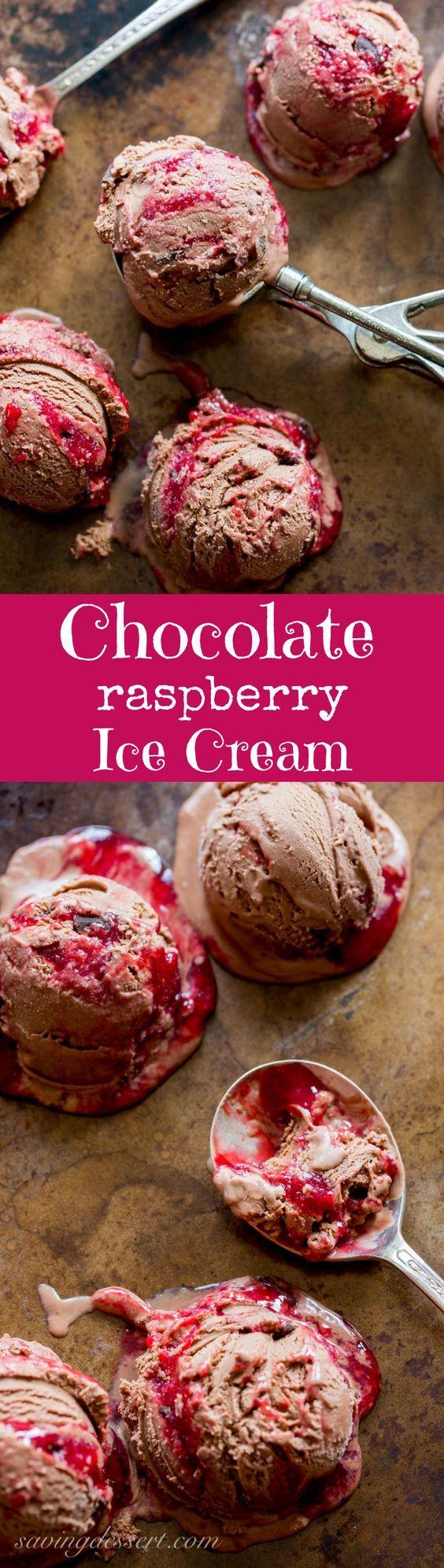Chocolate Chocolate Chunk-Raspberry Swirl Ice Cream ~ a creamy, sweet, tart and delicious treat from www.savingdessert.com