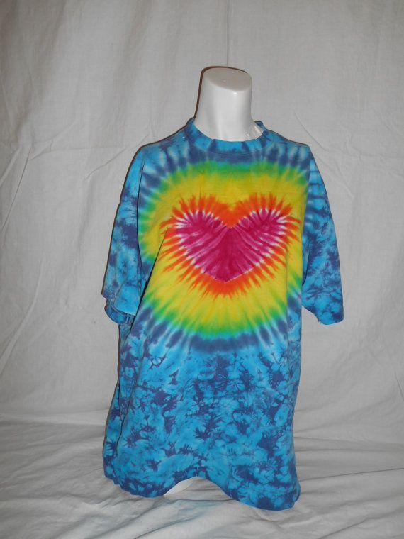 vintage HEART 80s 90s  tye dye tie die tee t by ATELIERVINTAGESHOP, $40.00
