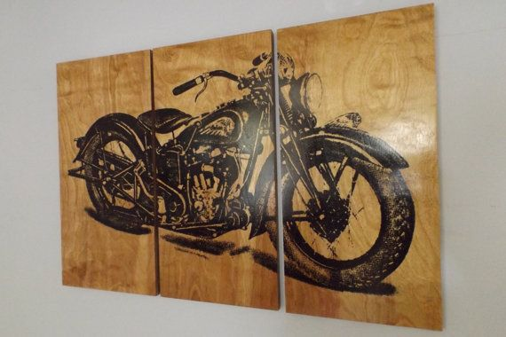 vintage motorcycle screen print wood painting wall art bike home decor man cave gift. Black Bedroom Furniture Sets. Home Design Ideas