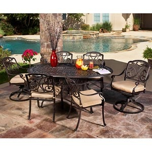 San Paulo Patio Dining Set Oval Cast Top Table 2 Swivel Rockers And 4  Stationary Chairs With Sunbrella® Fabric Cushions