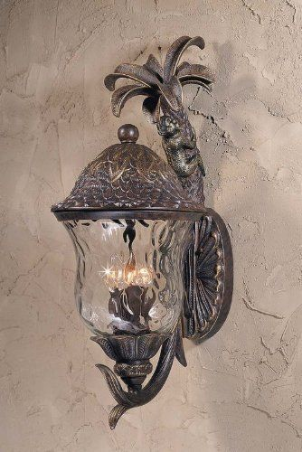 Triarch International 75112-11 English Bronze w/Gold Highlights Monkey Tropical /Safari 4 Light Exterior Wall Sconce from the Monkey Collection by Triarch International. $630.00. Exterior 4-Light Wall Mount in an English Bronze finish and Gold Highlights with Hand Blown Hammered Clear Glass Complete with or without Monkey on Tree.Hand blown clear hammered glass 4-60 Watt Candle Base bulbs not included UL ApprovedBulb Type: Incandescent Collection: Monkey Exterior Coun...