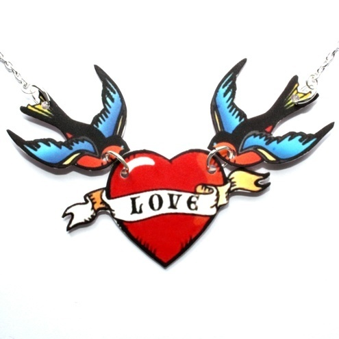 Swallow 'Love' Bird Necklace (16 inch silver plated chain) from SourCherry on Folksy