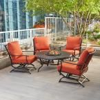 Hampton Bay Redwood Valley 5-Piece Patio Fire Pit Seating Set with Quarry Red Cushions-FSS60428RST - The Home Depot