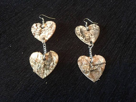 Handmade wooden heart shaped earrings with chains wooden