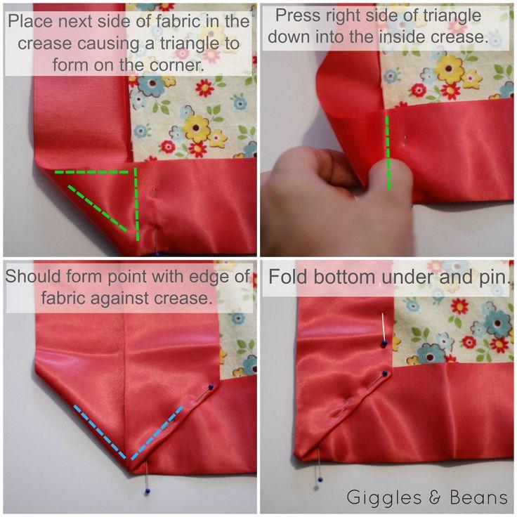 sew a mitered corner blanket binding