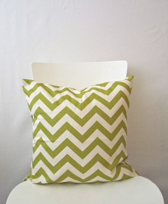 18 inch throw pillow cover, Chevron olive green and white. Zigzag pattern, modern print. For indoor use.