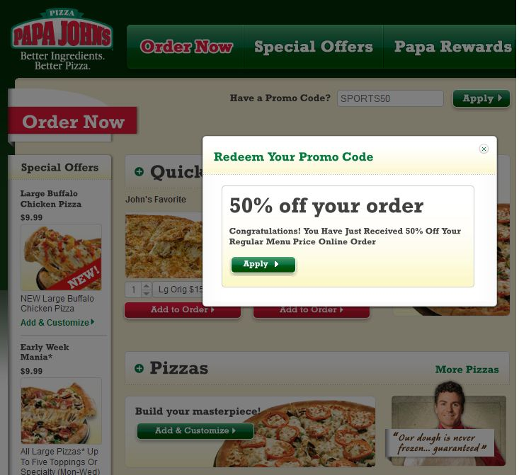 Coupon code papa johns