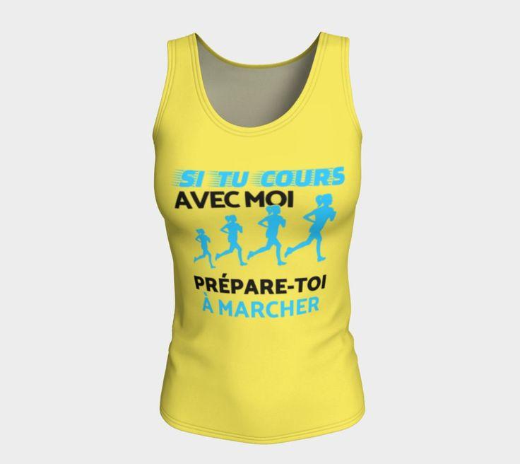 QUI A DIT QU'ON ALLAIT SEULEMENT COURIR ? ;-)  Que ce soit pour vous, ou pour offrir à une de vos chums de fille, ce débardeur convient autant pour l'entraînement que pour la vie de tout les jours. Running T-shirt amusant ;-)