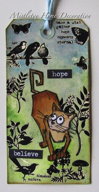12 Tags of 2016 - November - Tim Holtz Remix Tag - Tag with Crazy Cat