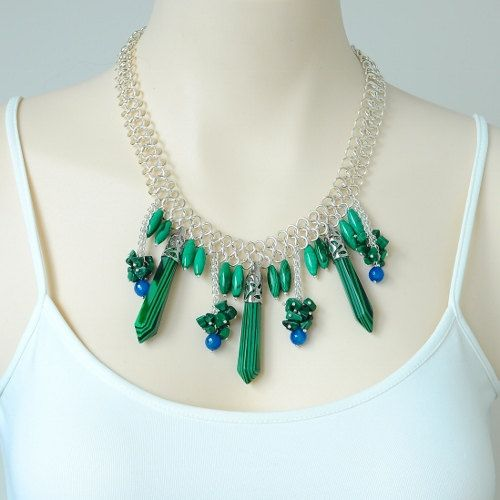 Malachite and Blue Agate Necklace. Green and Blue Necklace. Spring Colour Necklace by INJIJEWELRY on Etsy