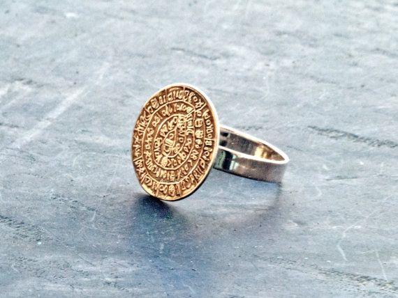 Sterling Silver Greek Ring Phaistos Disc Ring by GreekMythos