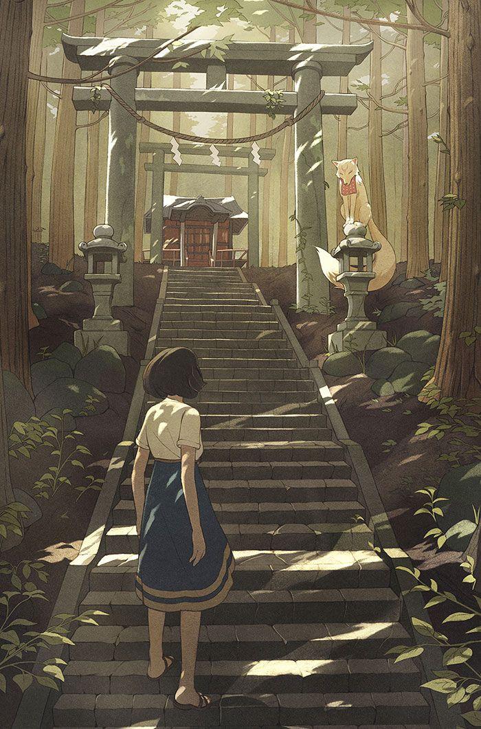 Personnage manga devant un temple
