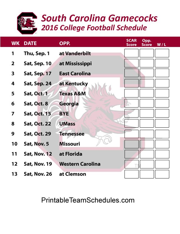 South Carolina Gamecocks 2 Football Schedule 2016. Score Updates & Printable Schedule Here - http://printableteamschedules.com/collegefootball/southcarolinagamecocks.php