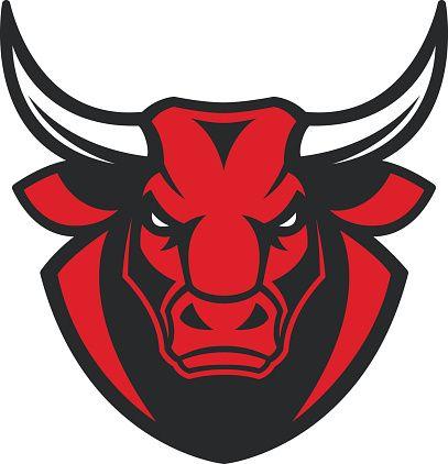 The head of a ferocious bull vector art illustration