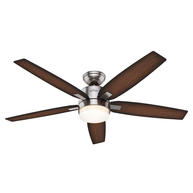 Windemere Brushed Nickel Two Light 54 Inch Ceiling Fan With Light And Remote Hunter Fans S
