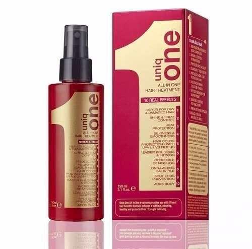 Modo de Uso:   1- Aplique Revlon Professional Uniq One Máscara em Spray 10 em 1 nos cabelos molhados a uma distancia de 20cm; Desembarace os cabelos com pente e finalize como desejar; 2- Nos cabelos secos esfregue o produto entre as mãos e aplique nos cabelos evitando a raiz; 3- Se necessário retoque o penteado com secador ou prancha.   Resultado: Cabelos Fortes e Hidratados 10 vezes mais.