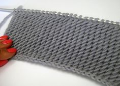 I casted on 14 stitches Row 1: Purl all stitches. Row 2: Row 2: Make a one stitch and slip with first stitch, rep Row 3: k2tog Row 4: rep row 2 Row 5: rep row 3