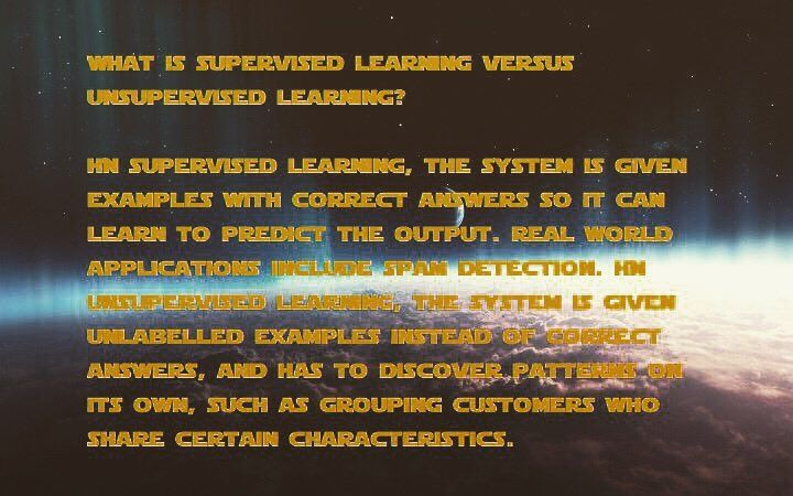 What is supervised learning versus unsupervised learning? #supervise #unsupervised #supervisedlearning #unsupervisedlearning #example #answer #correct #predict #spam #spamdetected #discover #pattern #bigdata #data #computer #algorithm #math #computer #architecture #starwars  #jedi #moon #universe #cloud #database #datascience #AI #ai