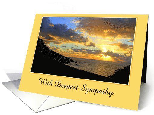 With Deepest Sympathy, Ocean Sunset, Custom Text card