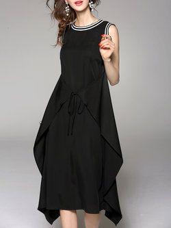 Black Sleeveless Crew Neck Plain Rayon Midi Dress (****I like it, but not in black.)
