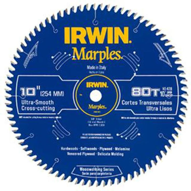 Irwin 1807370 10 Inch Marples 80 Tooth Circular Saw Blade Size 5 8 Inch Multicolor Craftsman Table Saw Table Saw Workbench Diy Table Saw