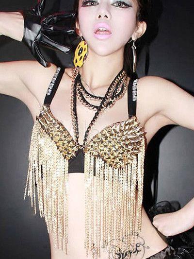 Soutien-gorge clouté en polyester d'or avec frange - Milanoo.com 18.31