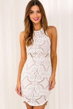 Sugar Spiced Apples Womens Lace Dress - White