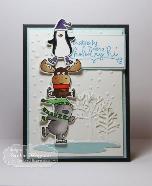 Holiday Skating by Card Sankari Wegman #Cardmaking, #Christmas, #Crittes, #EmbossingFolders, #BuildAScene, #TE, #ShareJoy