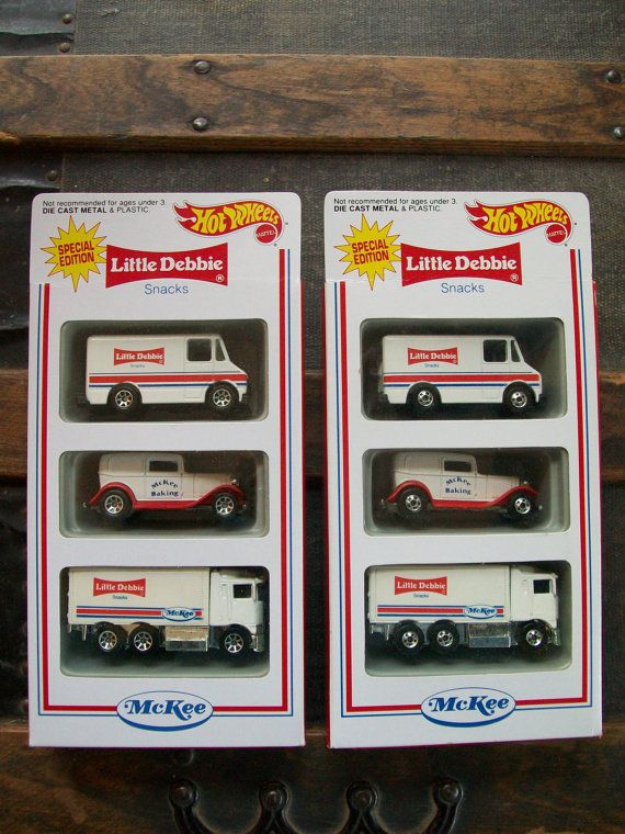 1994 Little Debbie Snacks Advertising Hot Wheels - NEW VINTAGE - Unopened Boxes - Mattel - McKee Bakery Delivery Trucks - 1990's Toys