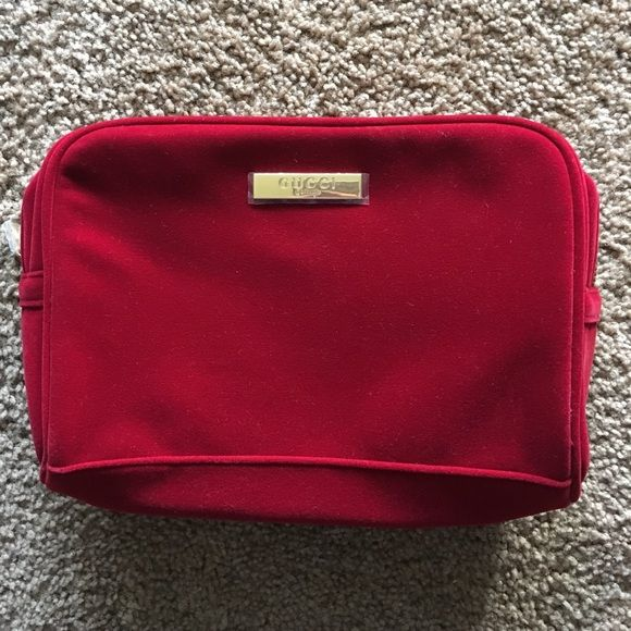 cad000342a9922 Gucci parfums bag Super cute red velvet Gucci perfume bag brand new! It has  all the plastic still on the hardware Gucci Bags Cosmetic Bags & Cases