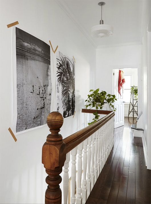 Black and white art prints in toronto stairwell with indoor plants sfgirlbybay