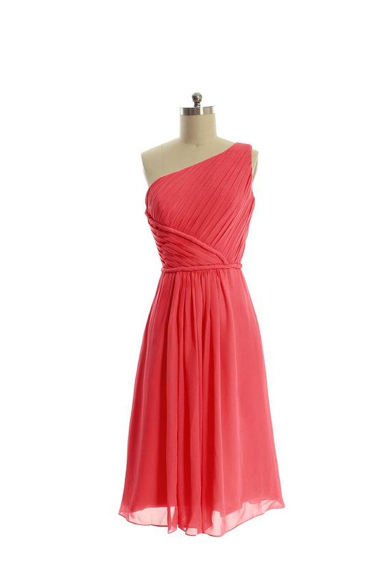 Coral Bridesmaid Dress One Shoulder Short Chiffon by DressbLee, $89.00