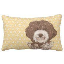 Labradoodle Dog Lumbar Pillow Yellow