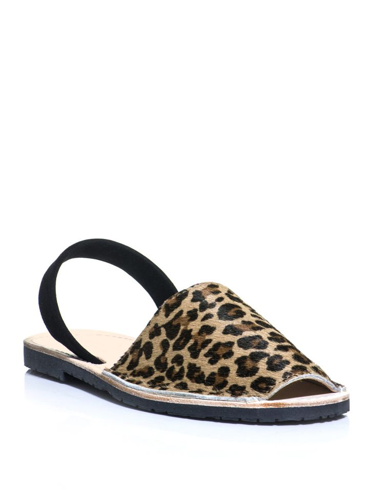 Tan Leopard Suede Flat Sandals by DEL RIO LONDON. Buy for $108 from MATCHESFASHION.COM