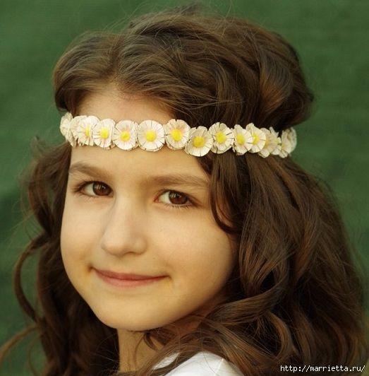 Венок из ромашек своими руками для маленькой принцессы (9) (523x532, 156Kb)