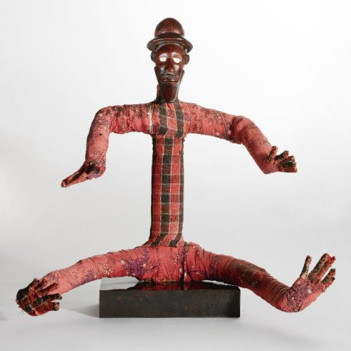 BEMBE MALE RELIQUARY FIGURE, DEMOCRATIC REPUBLIC OF THE CONGO muzidi, the eyes made of porcelain shards (misidentified in Lagamma 2007 as ivory). Height: 23 in (58.4 cm) Collected by a French citizen in the Congo in the 1940s READ note
