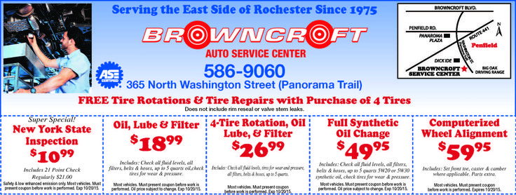 Browncroft automotive service center coupons rochester ny