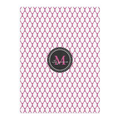 Monogram | White Magenta Trellis Pattern Fleece Blanket - initial gift idea style unique special diy