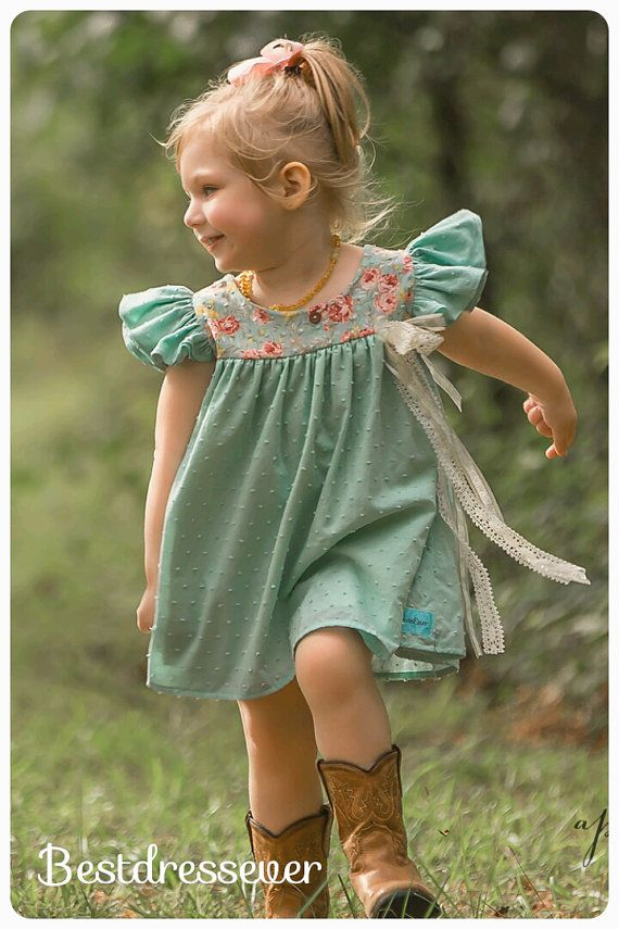 Girls Special Occasion Dress  Girls Mint Dress  by BestDressEver