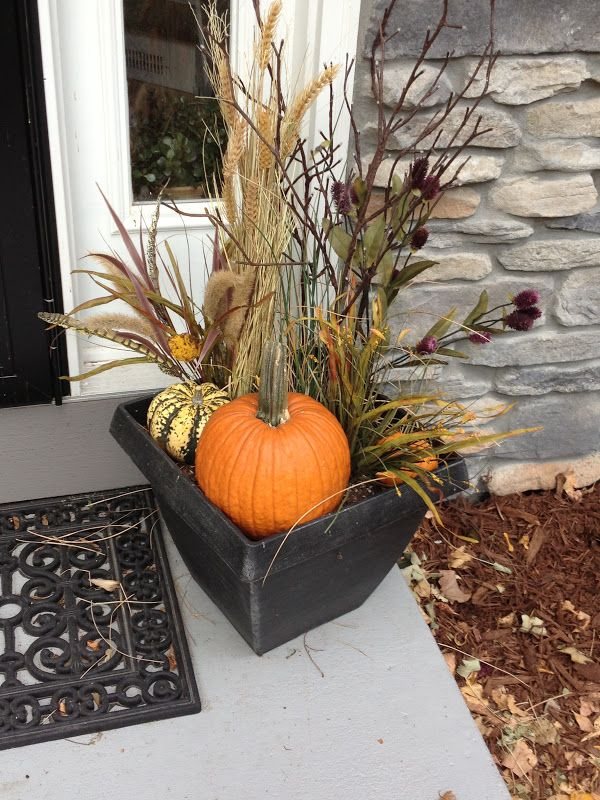Fall Outdoor Floral Arrangement from Our Hobby House - Autumn on the porch
