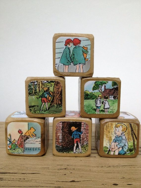 Now We Are Six // Childrens Book Blocks // Natural Wood Toy