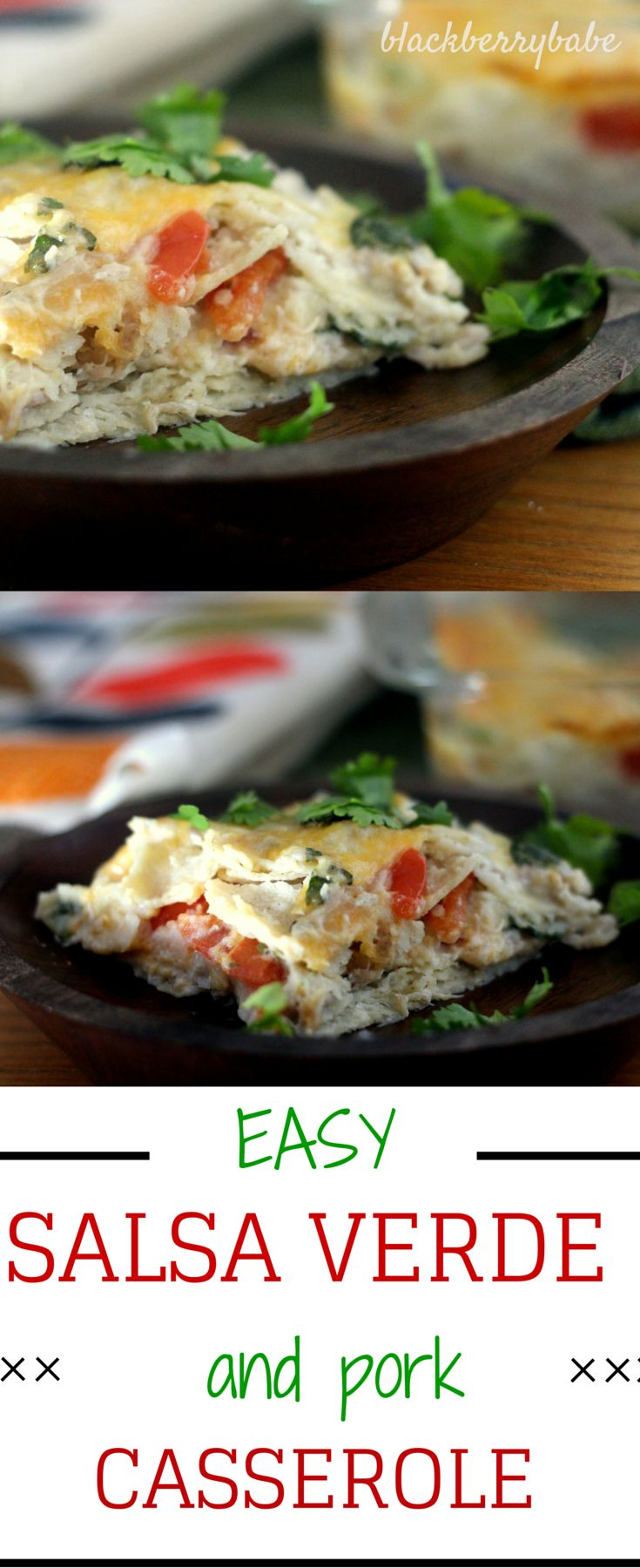 Easy Salsa Verde Pork Casserole: Creamy pork, salsa verde, tomatoes ...