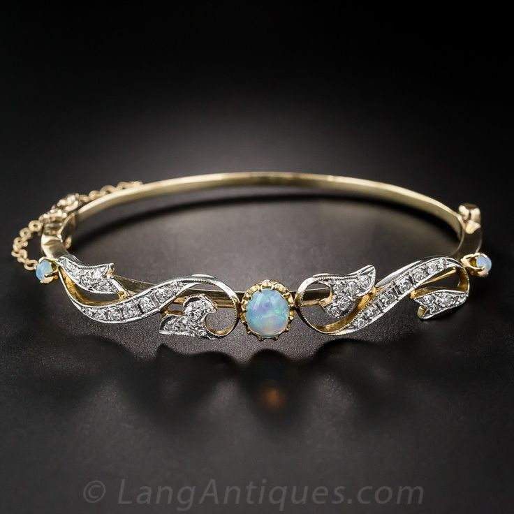 Opal and Diamond Vintage Bangle Bracelet - Vintage Jewelry