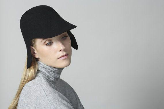 Black hat , Womens felt visor ,  Mens Felt Hat , Cap for men ,  Womens hat , Mens visor , Winter hat , Hat Winter , Black Hat